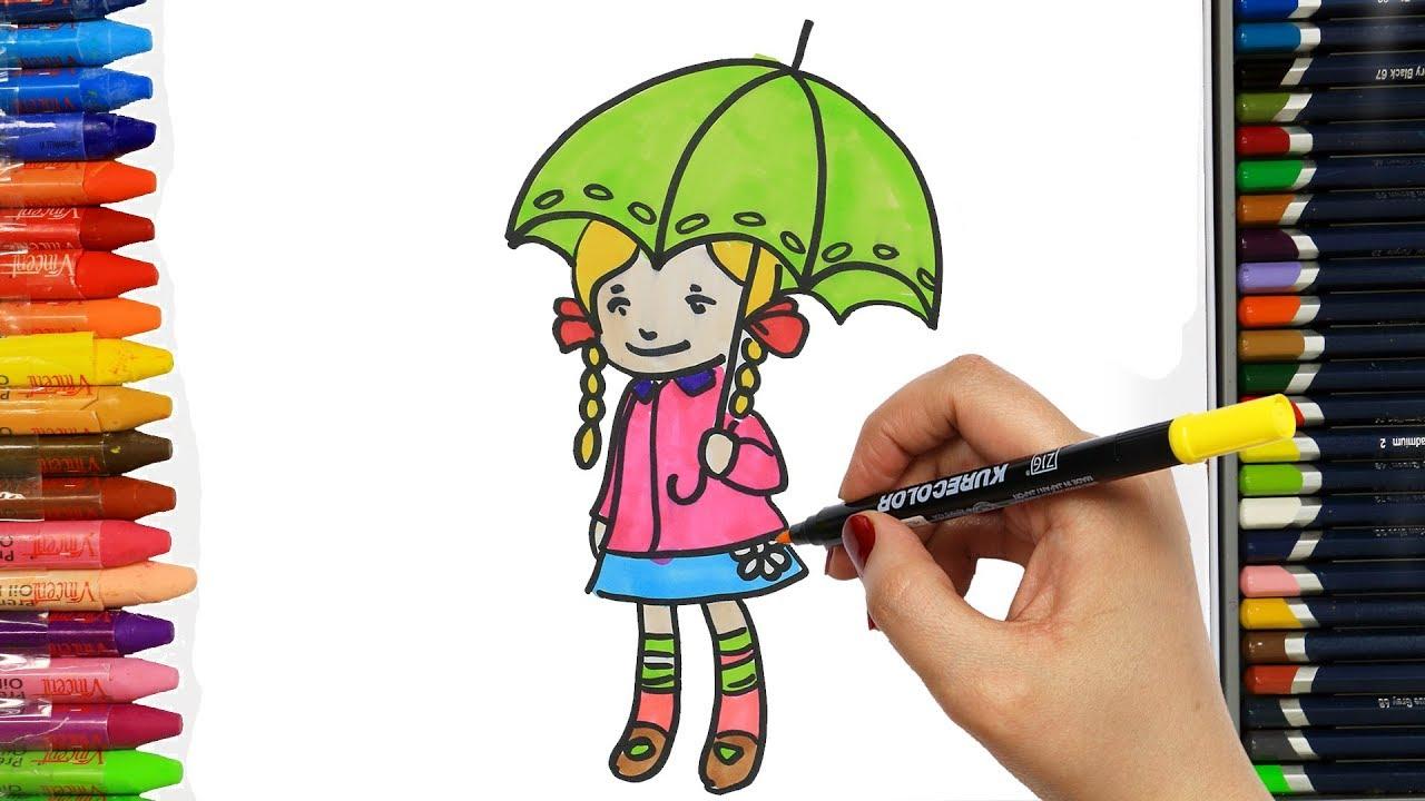 şemsiye Ve Küçük Kız Nasıl çizilir çocuklar Için Eğlenceli Boyama