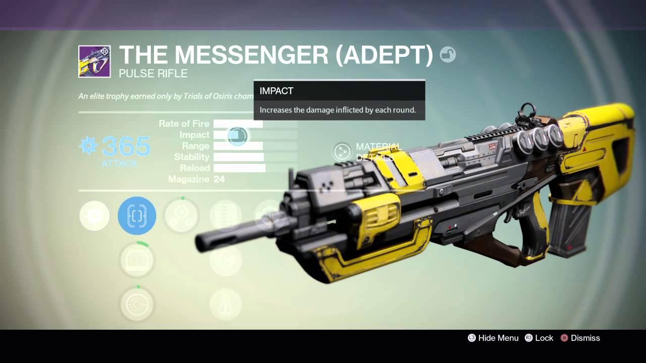 The messenger adept w arc dmg destiny osiris weapon youtube