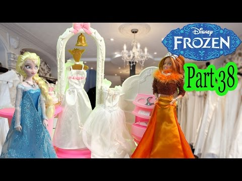 Queen Elsa Princess Anna Frozen Disney Wedding Dress Shop Barbie Doll Boutique Series Video Part 38