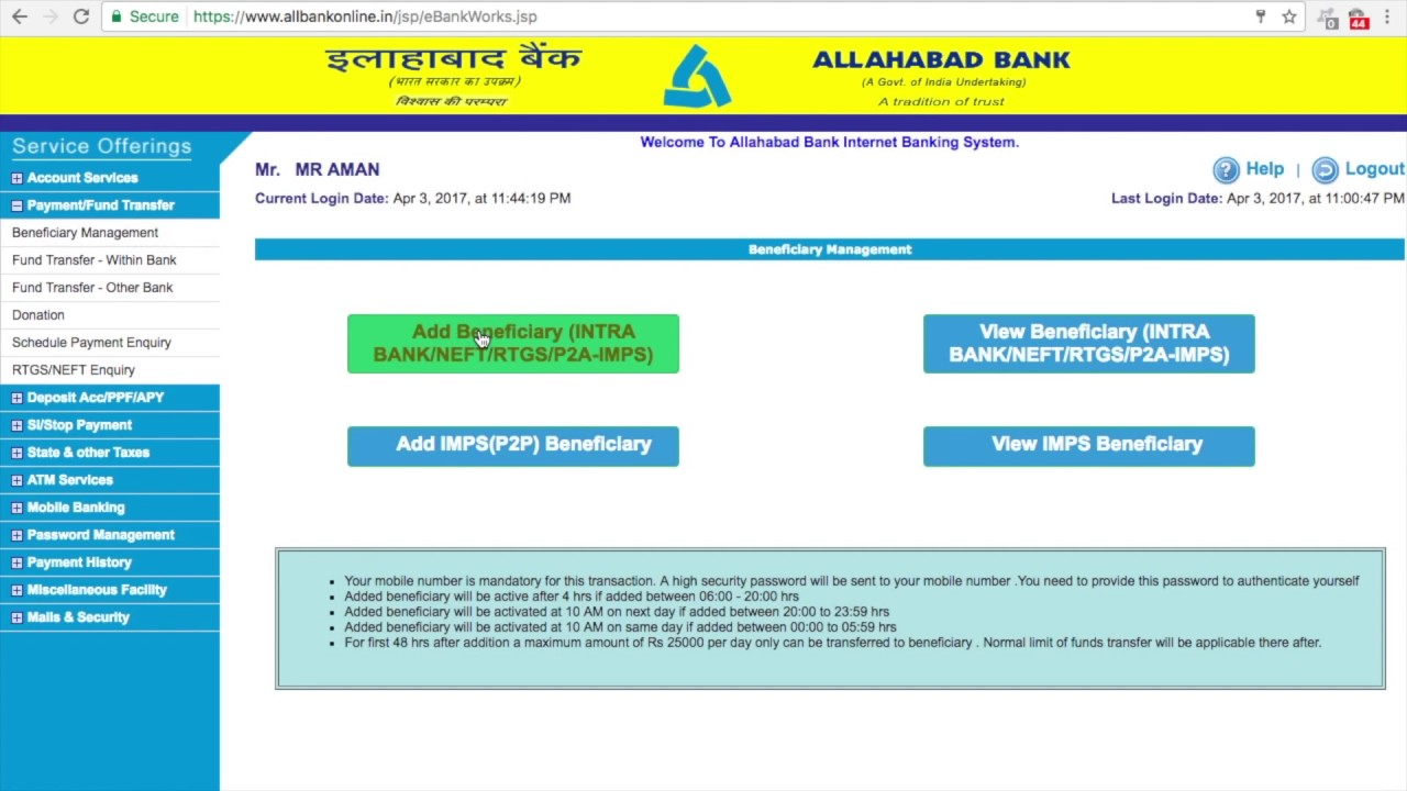 ALLAHABAD BANK ACCOUNT ONLINE BANKING BENEFICIARY ADDITION OR ...