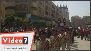 جنازة عسكرية مهيبة لامين الشرطة شهيد سانت كاترين فى بنى سويف
