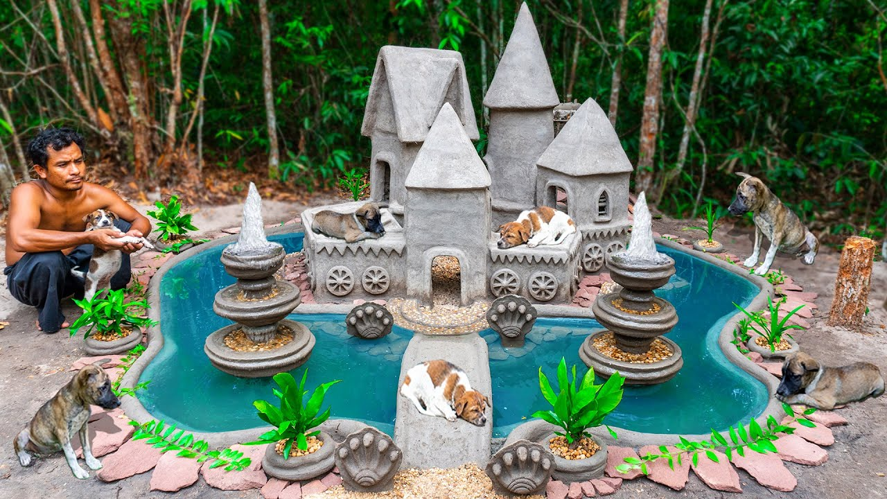 Build Beautiful House For Rescue 3 Puppies And Build Aquarium Fish Tank