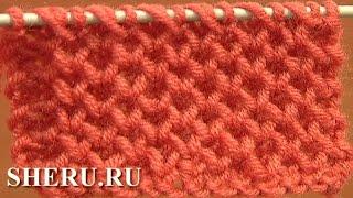 How to Knit Honeycomb Stitch Pattern Урок  4 Узор спицами соты