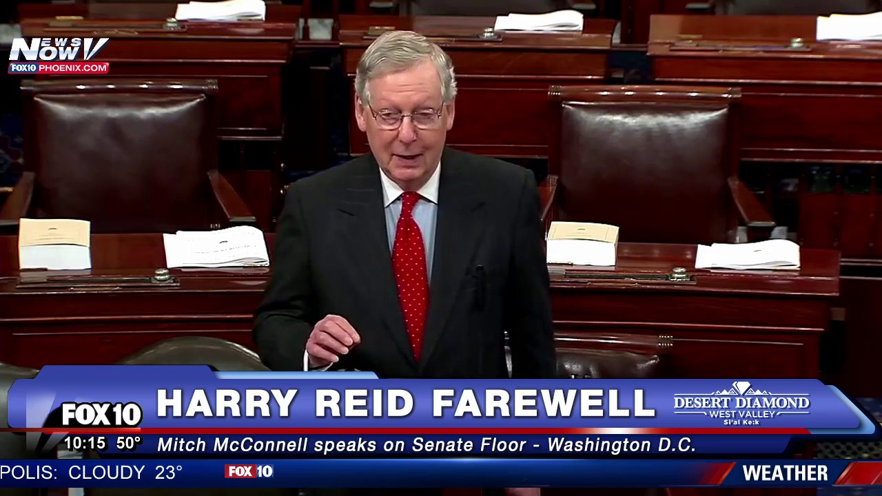 Wow Sen Mitch Mcconnell Pays Tribute To Harry Reid On Senate Floor Fnn Youtube