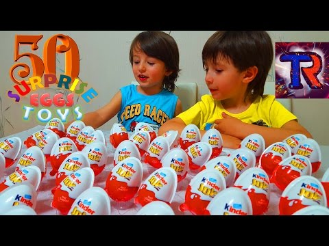 Киндер Joy Челлендж 50 яиц кто больше соберт игрушек Kinder Joy Eggs Challenge with toys