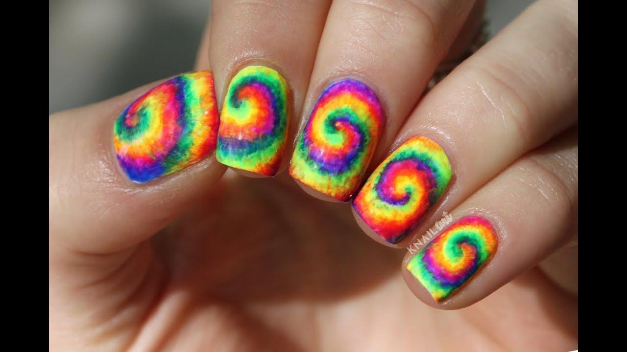 Neon Tie Dye Nail Art Tutorial by knailart - YouTube