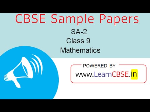 Cbse Sample Papers For Class 9 Maths Sa2 Paper 1 Q1 To Q14 (Part 1
