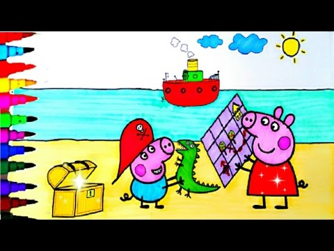 Peppa Pig And George Best Coloring Book Pages Videos For