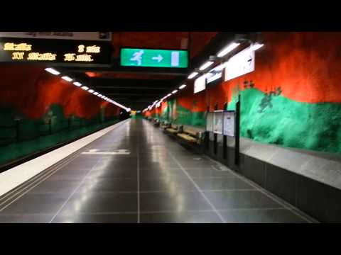 Stockholm - Station Tour - Solna Centrum Station (Tunnelbana Blue Line) and Bus Terminal 2015 07 04