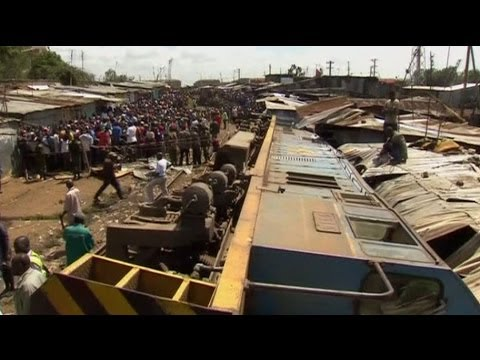 Cargo train comes off the tracks in Africa's largest slum