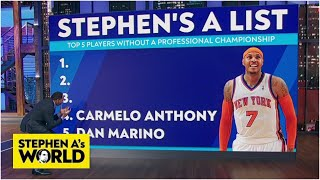 Stephen A. gets emotional listing his top 5 players who never won a pro title | Stephen A's World