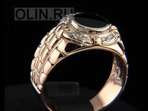 Золотой мужской перстень с черным камнем
