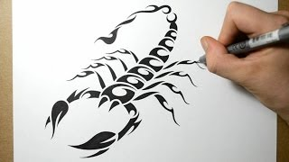 How to Draw a Scorpion - Tribal Tattoo Design Style
