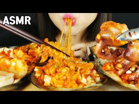 ASMR Spicy Seafood Pen Shell with Cheese *shellfish 키조개 치즈찜(eating sounds) MUKBANG