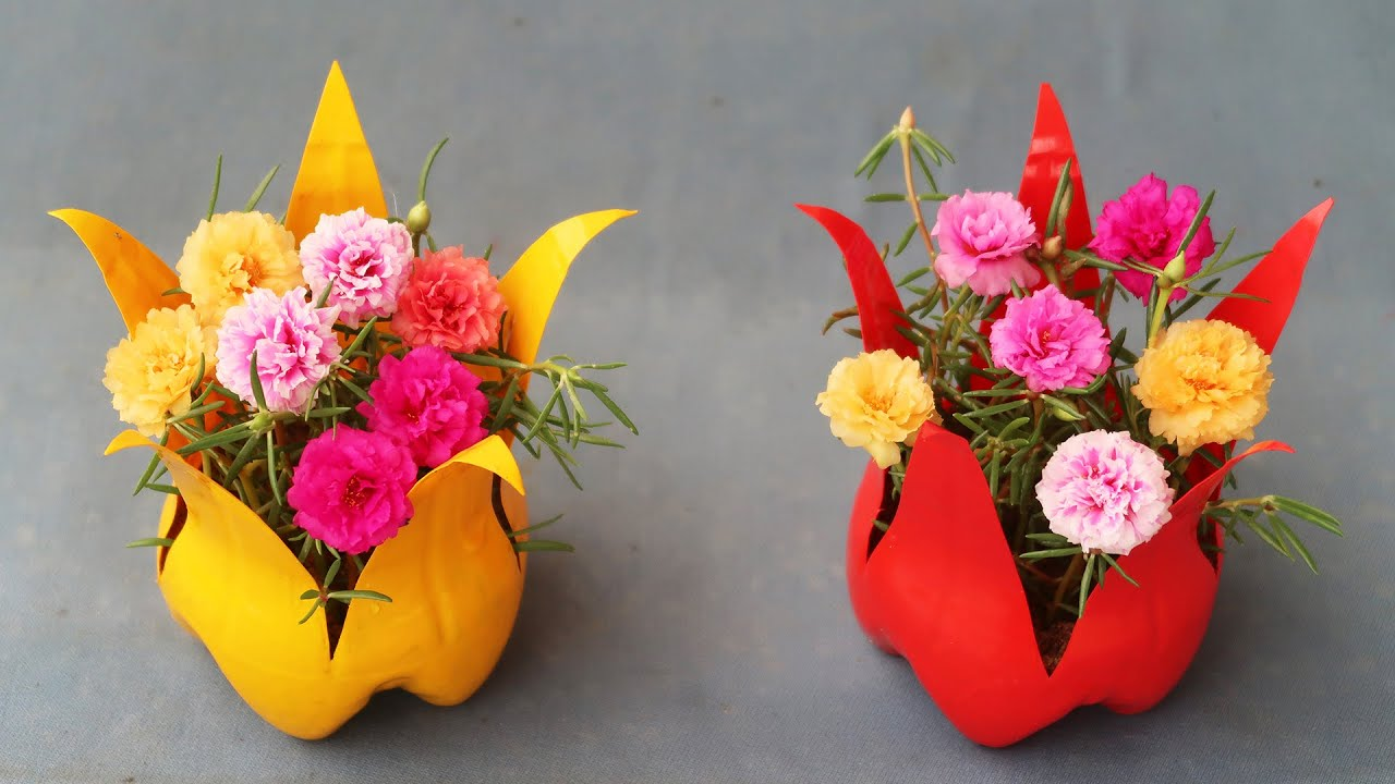Flower Pot Idea, Recycle Plastic Bottle Into A Beautiful 5-Petal Flower Pot For Your Small Garden