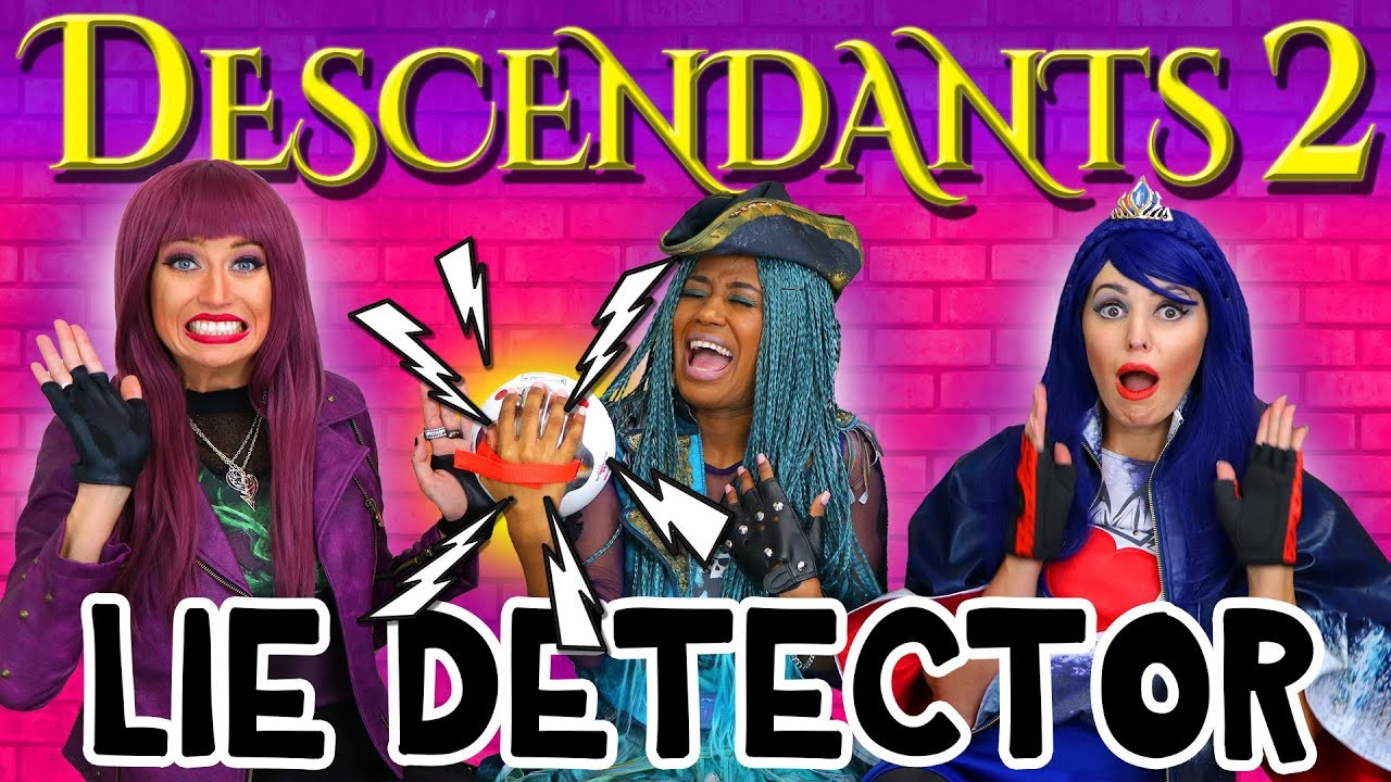 descendants 2 lie detector test with uma mal and evie. Black Bedroom Furniture Sets. Home Design Ideas