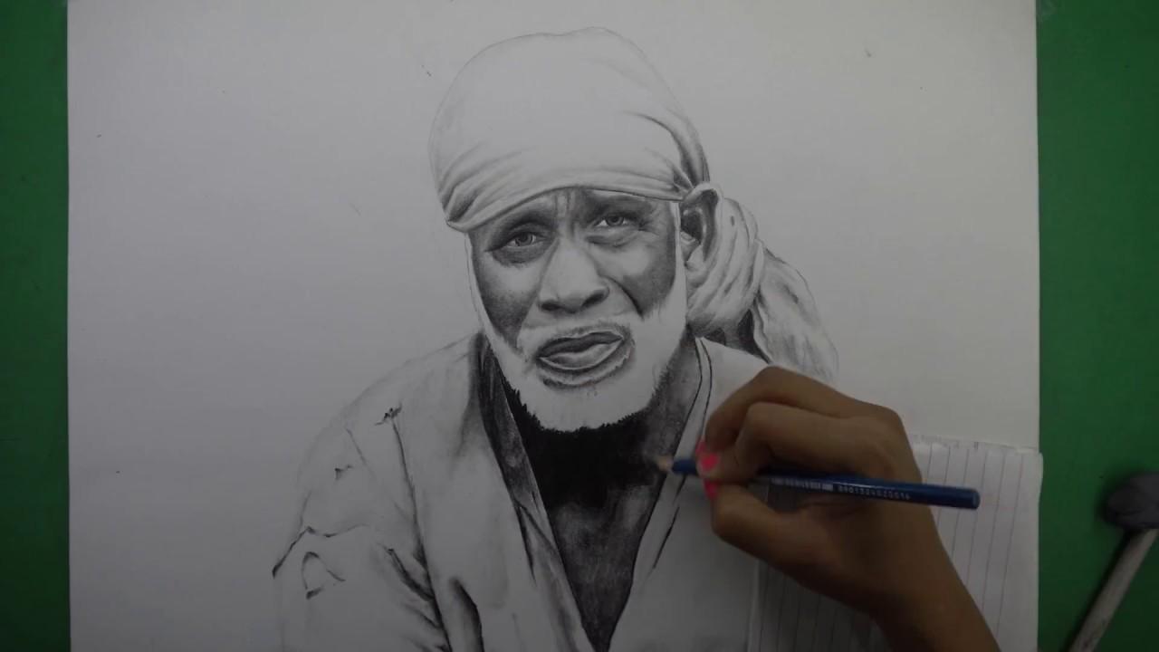 Drawing sai baba 4k