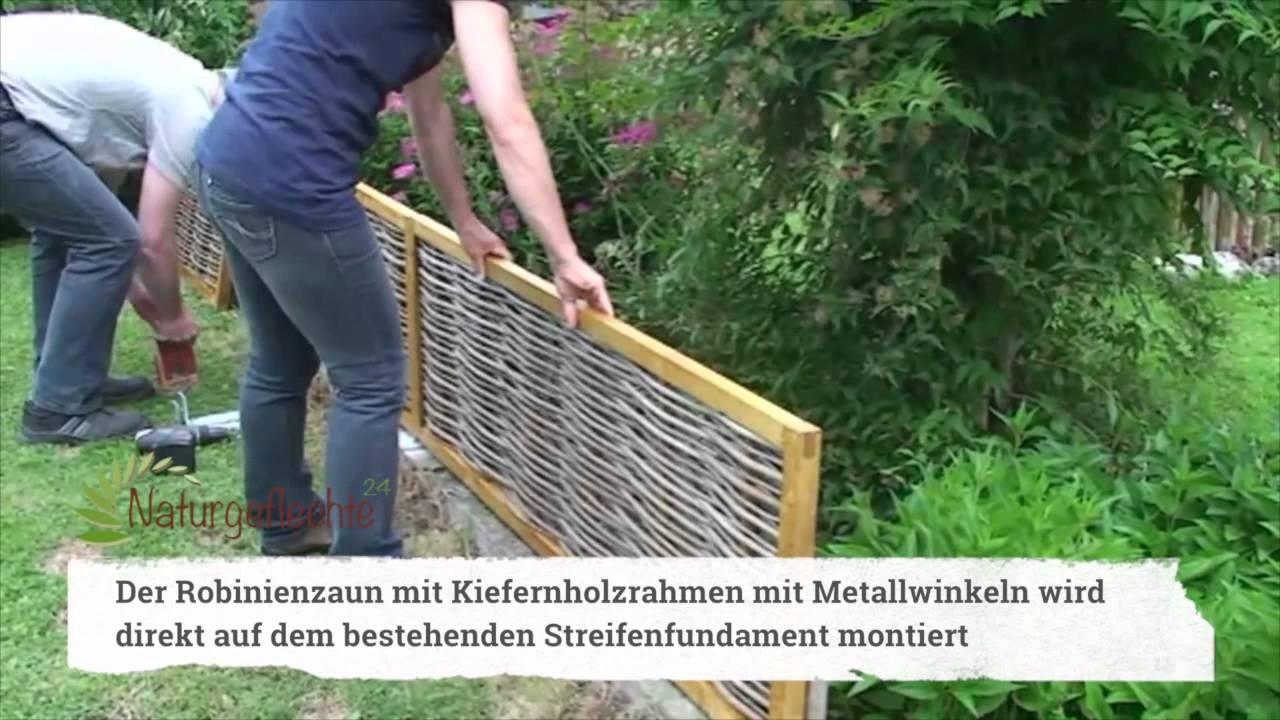 Aufbauanleitung Naturzaun als Gartenzaun - YouTube