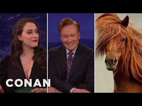 Kat Dennings Found Conan's Horse Twin  - CONAN on TBS