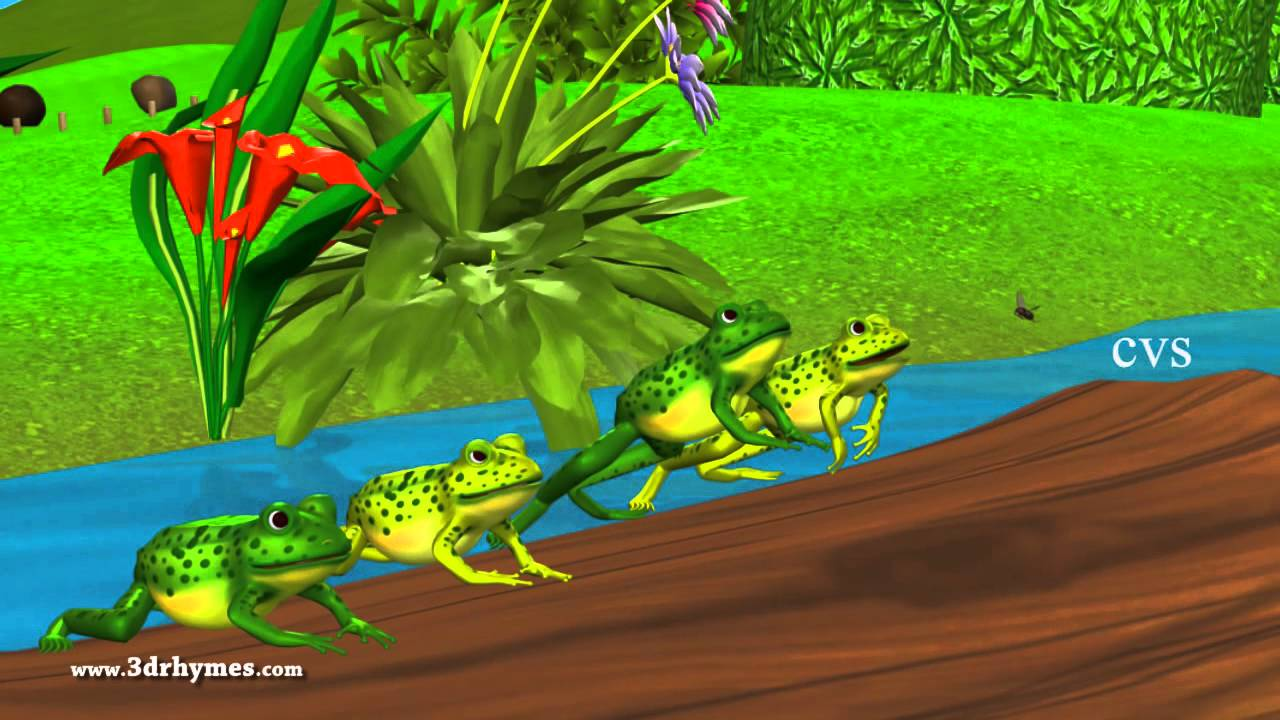 Five little speckled frogs - 3D Animation English Nursery rhymes for children
