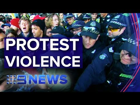 Activists and police clash outside Melbourne mining conference | Nine News Australia
