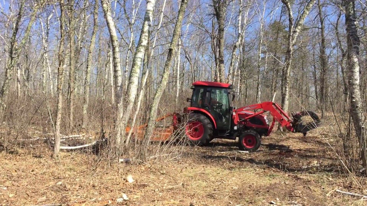 Tractor Mounted Brush Cutter : Macro mowing brush clearing with a tractor mounted woods