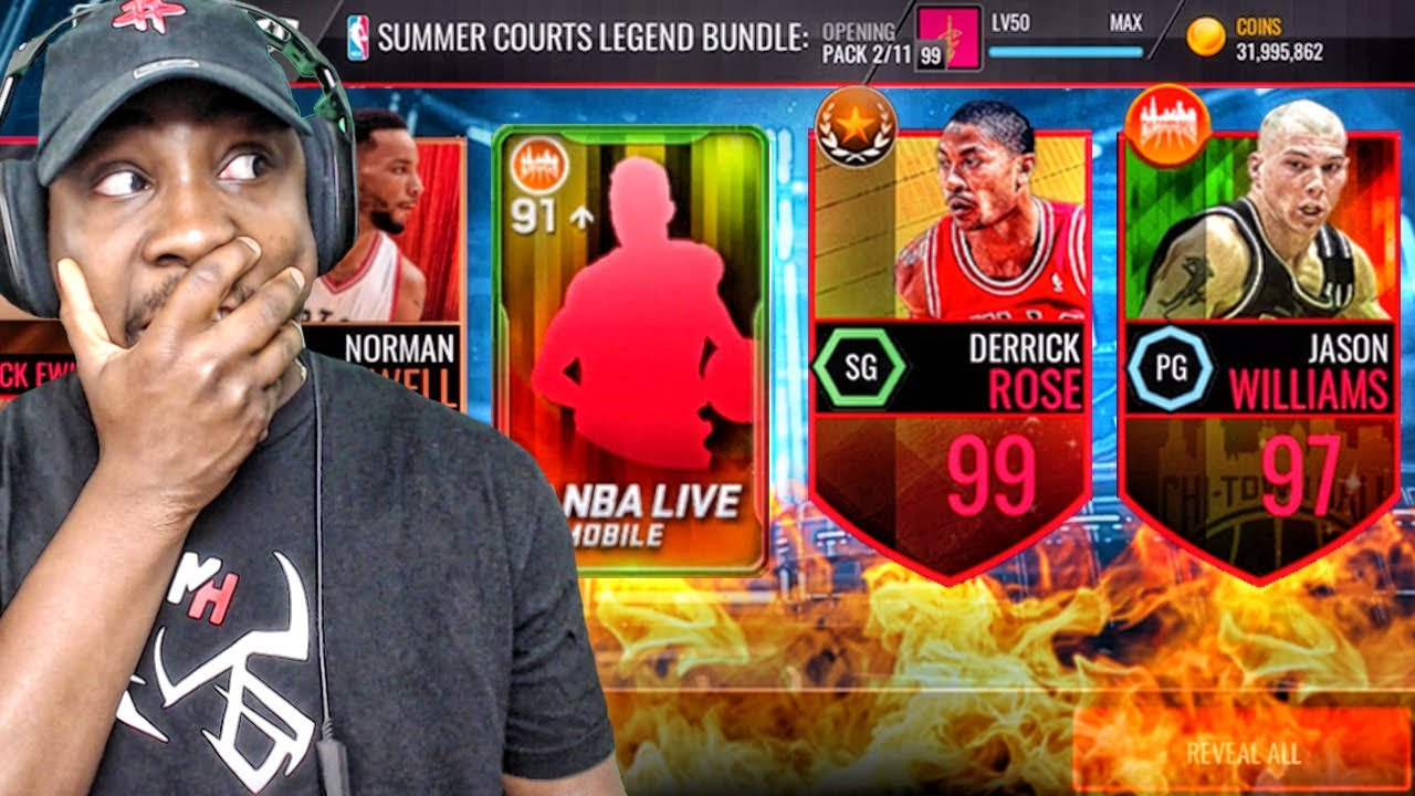 f1dbb8ae2d5b LEGEND SUMMER PACK OPENING   99 OVR DERRICK ROSE! NBA Live Mobile Gameplay  Ep. 141
