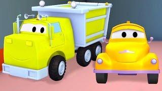 Odtahový vůz Tom a Sklápěč   Animák z prostředí staveniště s auty a nákladními vozy