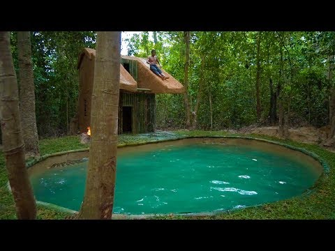 Jungle Survival: Build The Most Beautiful Bamboo Swimming Pool for Slide Roof Villa by Ancient Skill