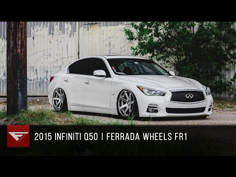 2015 Infiniti Q50 bagged | Ferrada FR1 Machine Silver / Chrome Lip