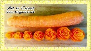 Art In Carrot Show - Vegetable Carving Carrot Roses - Carrot Flowers Garnish