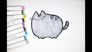 Как нарисовать кота Пушина (Pusheen) ПОЭТАПНО. How to draw a cat Pusheen