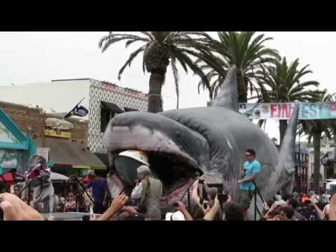 Mega-Sharkzilla Eats Jet Ski for Shark Week in Hermosa Beach 8/9/14