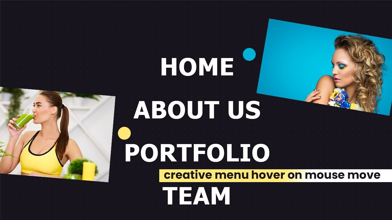 How to create Menu Hover with Mouse move using HTML CSS JS