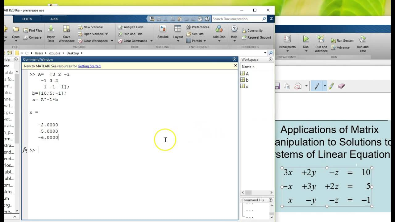 Solving System of Linear equations in matlab