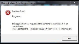 CS:GO Microsoft Visual C++ Runtime Library ошибка