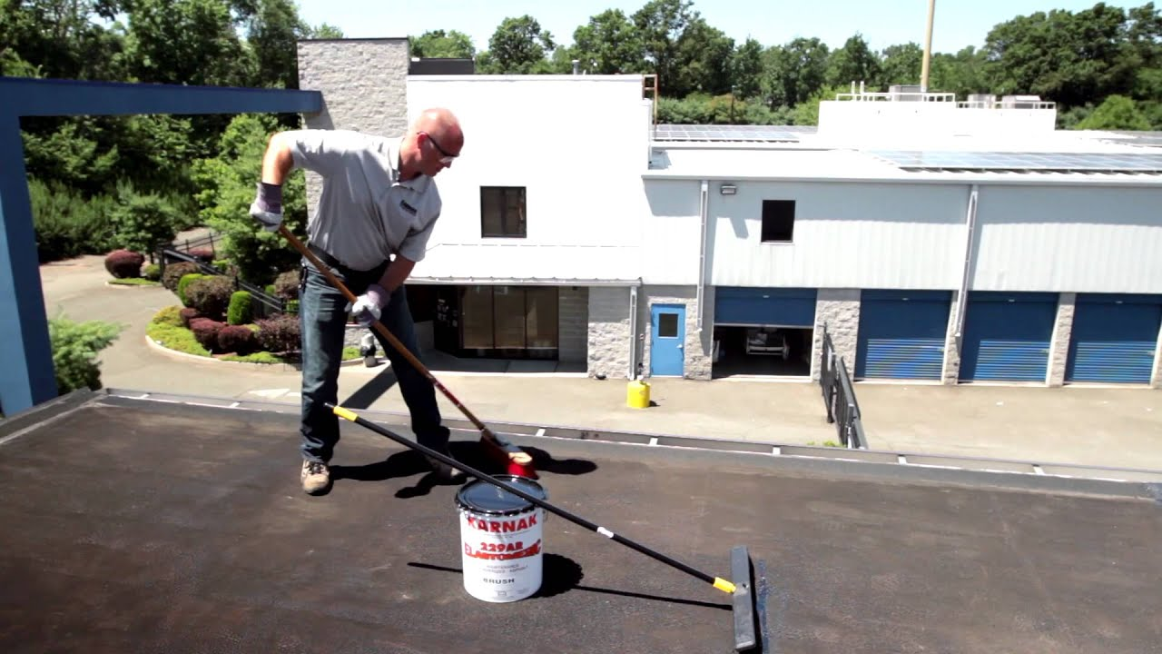 how to apply rubberized roof coating on flat roof karnak 229 ar elastomeric black youtube - Rubberised Roof Membrane