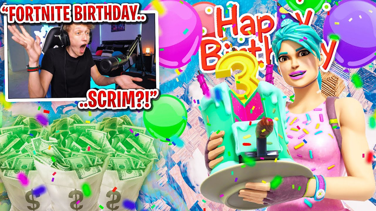 I got 100 FANS to scrim on Fortnite's 3RD BIRTHDAY for $100... (most STACKED endgame)
