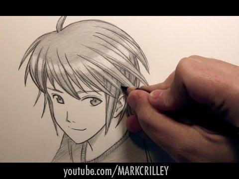 draw manga boy's hair shading
