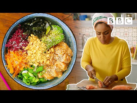 How to make a Salmon Poke Bowl in 15 minutes! | Nadiya's Time to Eat - BBC