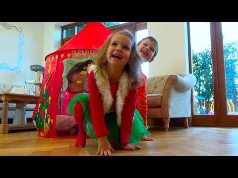 Папа Кати - смешной олень  Скрытая камера снимает Катю и Макса как они играют Наряжаем дом