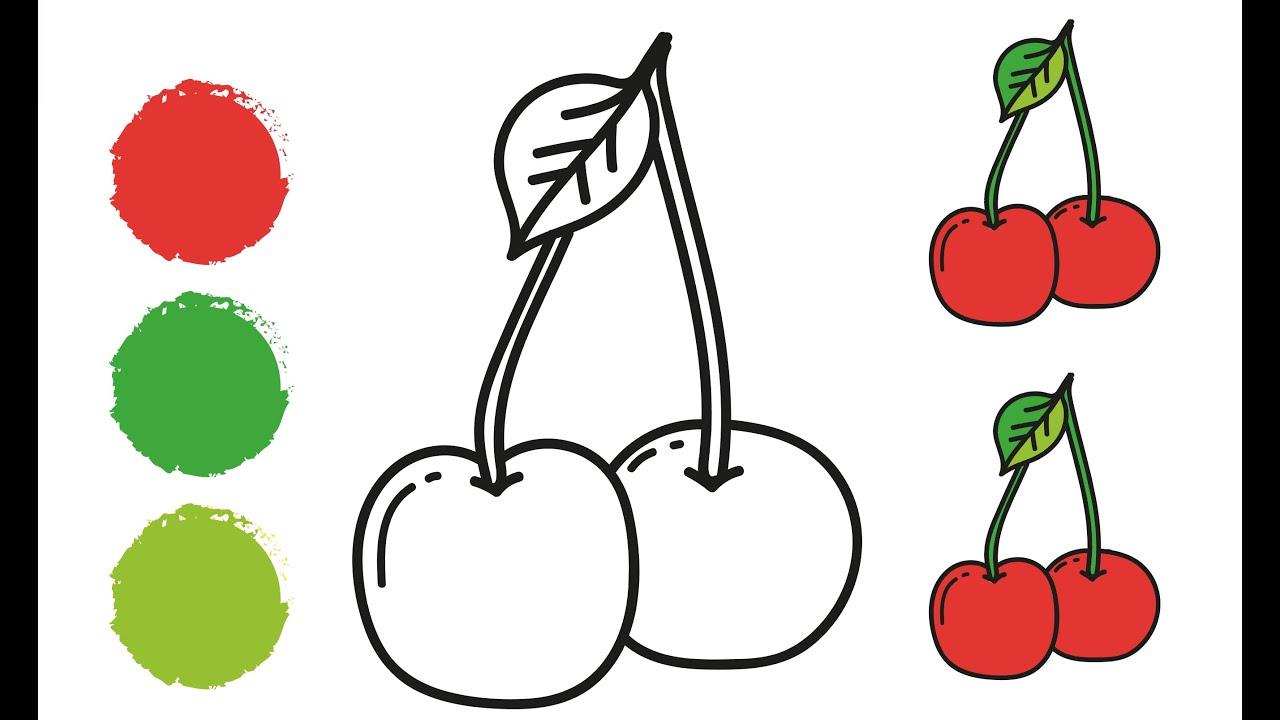 Раскраска ВИШНЯ / Как нарисовать ВИШНЮ / Краски раскраски ...