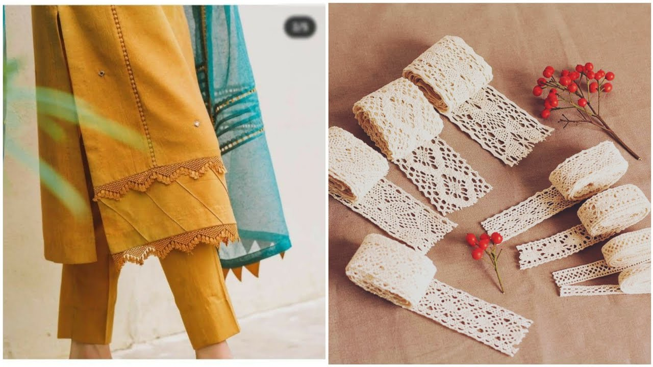 Creative Designing Idea's With Laces On Neckline,Sleeves ghera daman and Trouser poncha