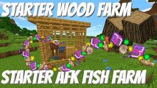 Automatic Fish Farm Minecraft 1.14 & Wood Farm Tutorial: Easy Starter Farms (Avomance 2019)