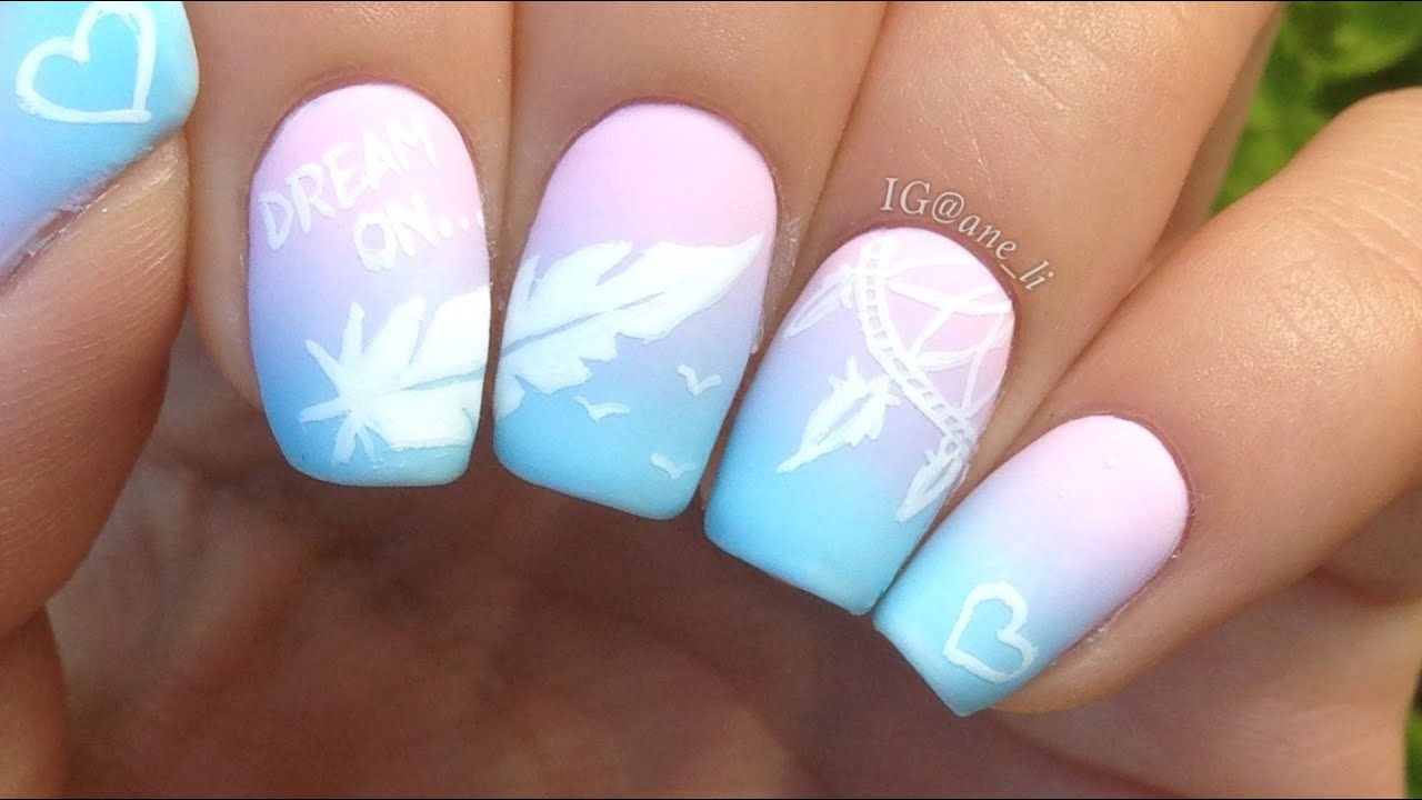 Dreamcatcher and feather nail art youtube prinsesfo Images