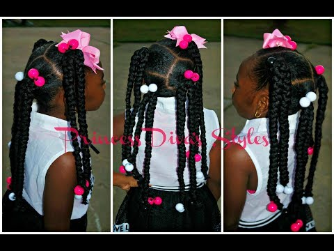 4 slick Ponytails With Braids | Using 1 pack Of Expression Hair