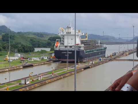 Panama Canal - Chinese cargo ship Caspian Harmony, Miraflores Locks