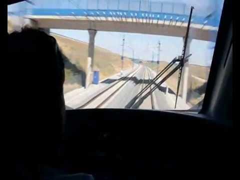 Viaje en cabina tren alta velocidad Avant 114 a 250 km/h - High speed train in Spain
