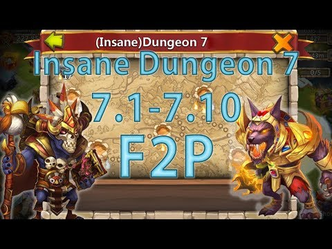 Castle Clash: Insane Dungeon 7 (1-10) F2P + Anubis [Updated]