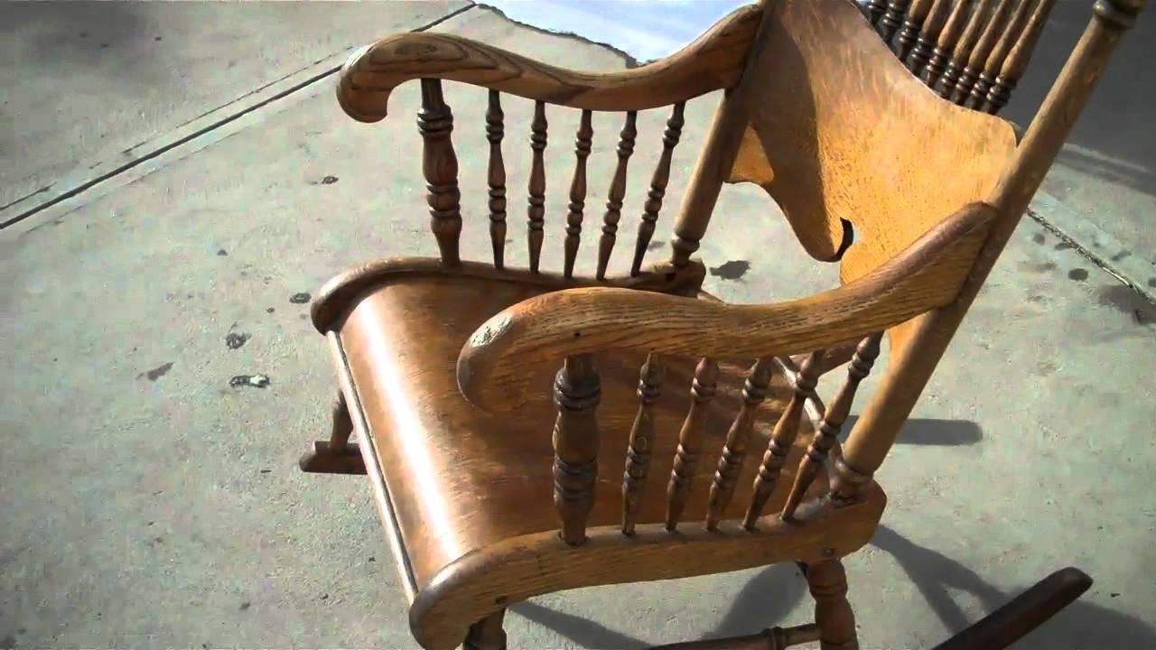 Antique Oak Rocking Chair - Antique Oak Rocking Chair - YouTube